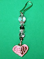 Picture of Bead and Heart Zipper Pull Charm