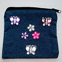 Picture of Denim Purse with Flower and Butterfly Gems